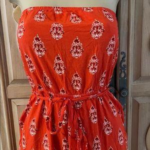 Old Navy orange bandana border print sundress M jr